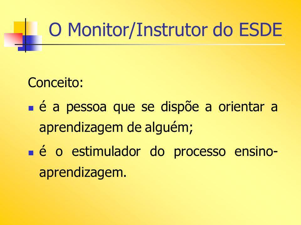 O Monitor/Instrutor do ESDE