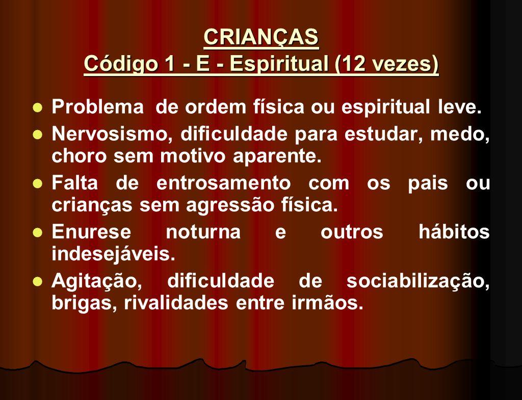 CRIANÇAS Código 1 - E - Espiritual (12 vezes)