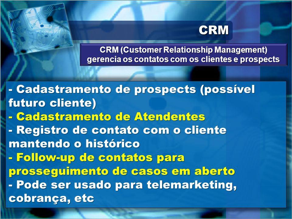 CRM Cadastramento de prospects (possível futuro cliente)