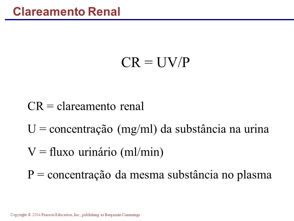 CR = UV/P CR = clareamento renal