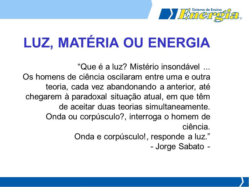 LUZ, MATÉRIA OU ENERGIA Que é a luz Mistério insondável ...