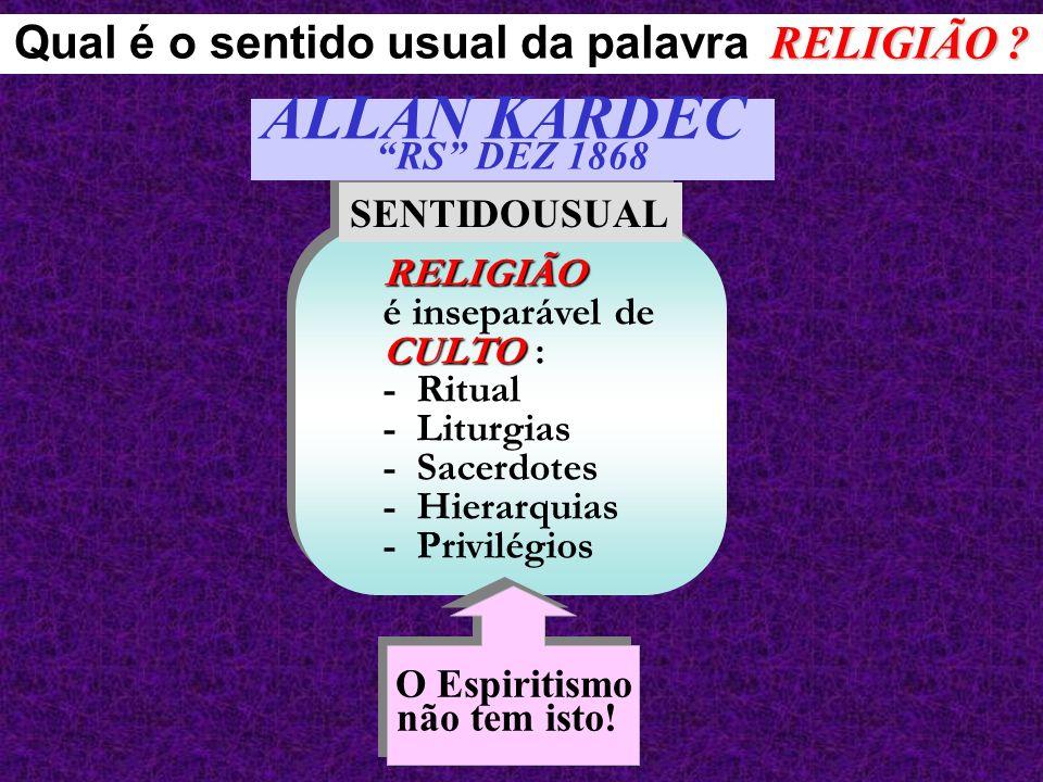 Qual é o sentido usual da palavra RELIGIÃO