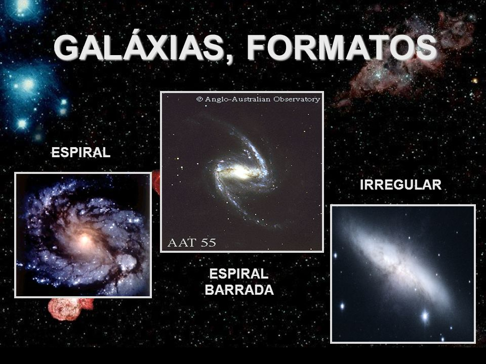 GALÁXIAS, FORMATOS ESPIRAL IRREGULAR ESPIRAL BARRADA