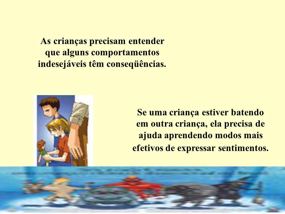 As crianças precisam entender que alguns comportamentos indesejáveis têm conseqüências.