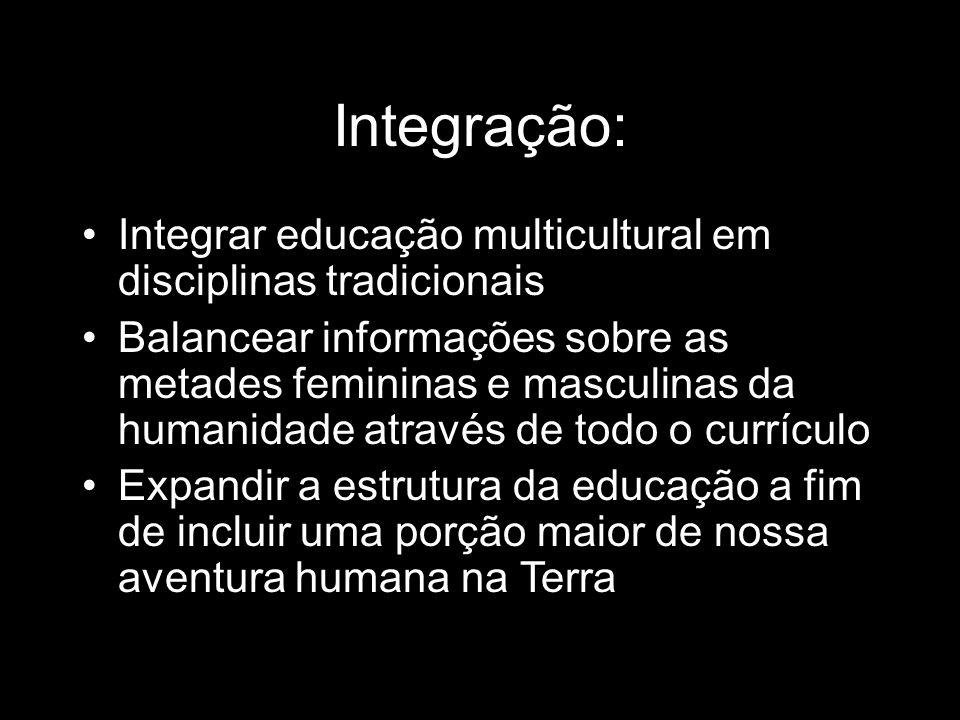 Integração:Integrar educação multicultural em disciplinas tradicionais.