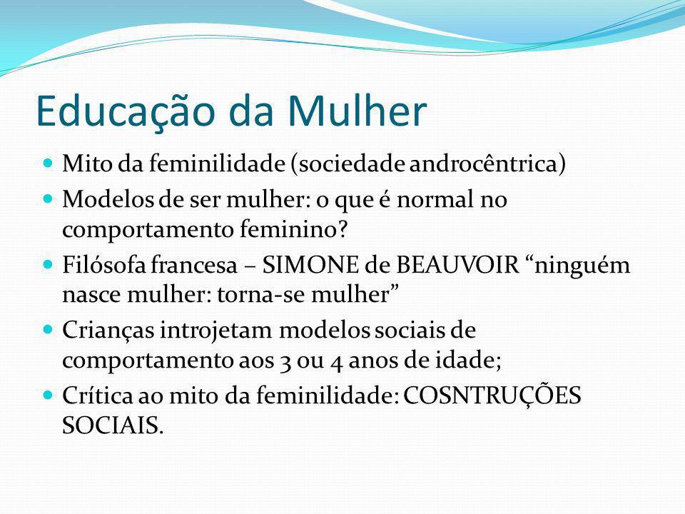 Educação da Mulher Mito da feminilidade (sociedade androcêntrica)