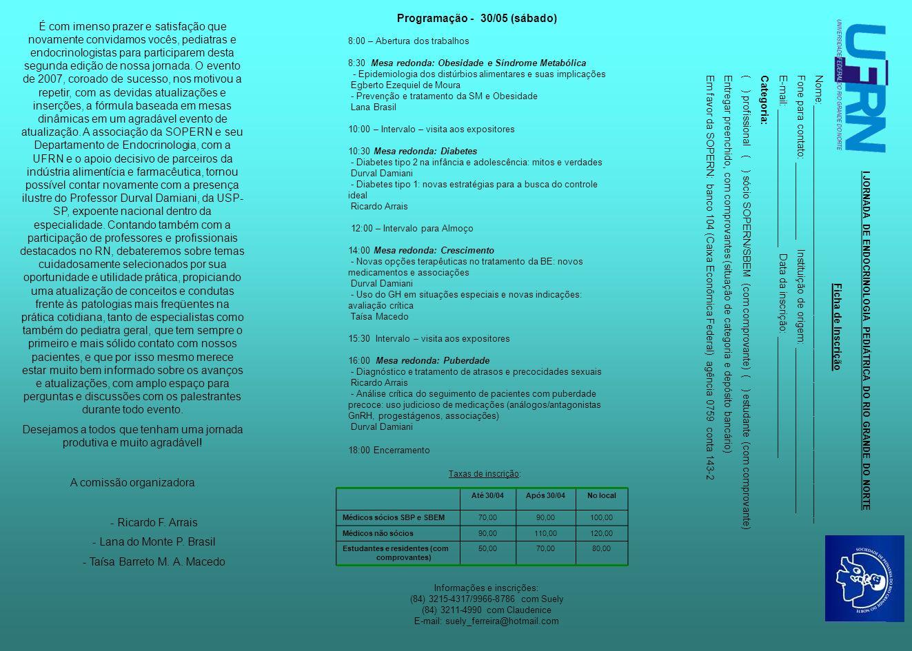 Programação - 30/05 (sábado)