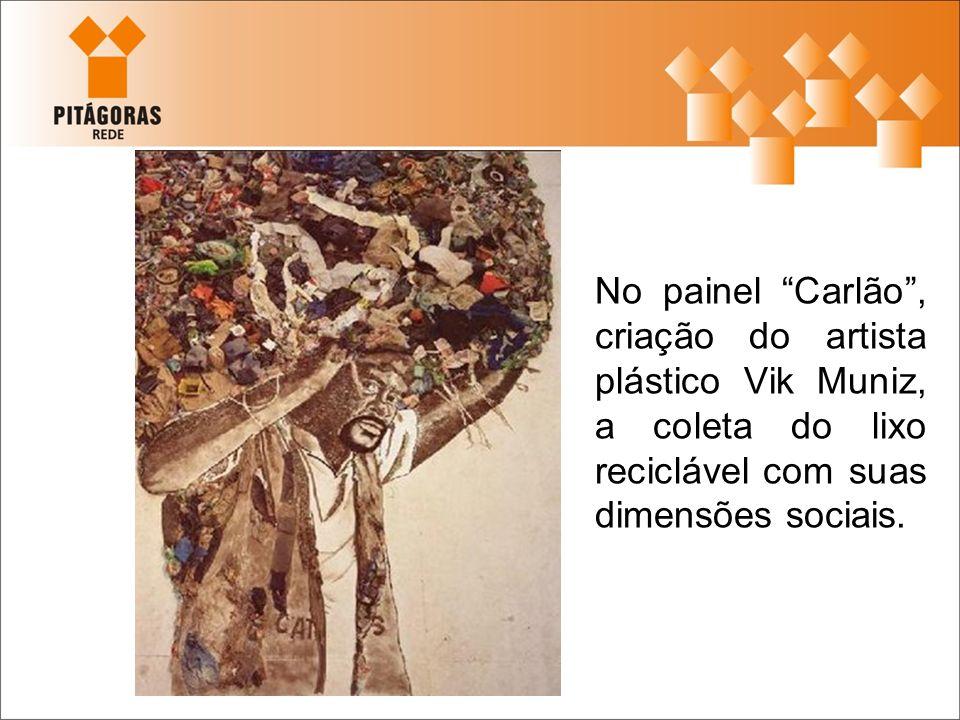 No painel Carlão , criação do artista plástico Vik Muniz, a coleta do lixo reciclável com suas dimensões sociais.