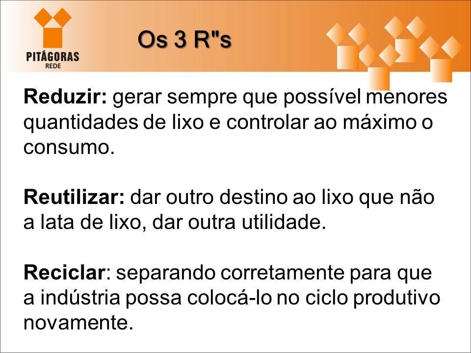 Os 3 R s Reduzir: gerar sempre que possível menores quantidades de lixo e controlar ao máximo o consumo.
