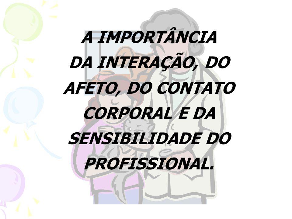 A IMPORTÂNCIA DA INTERAÇÃO, DO AFETO, DO CONTATO CORPORAL E DA SENSIBILIDADE DO PROFISSIONAL.