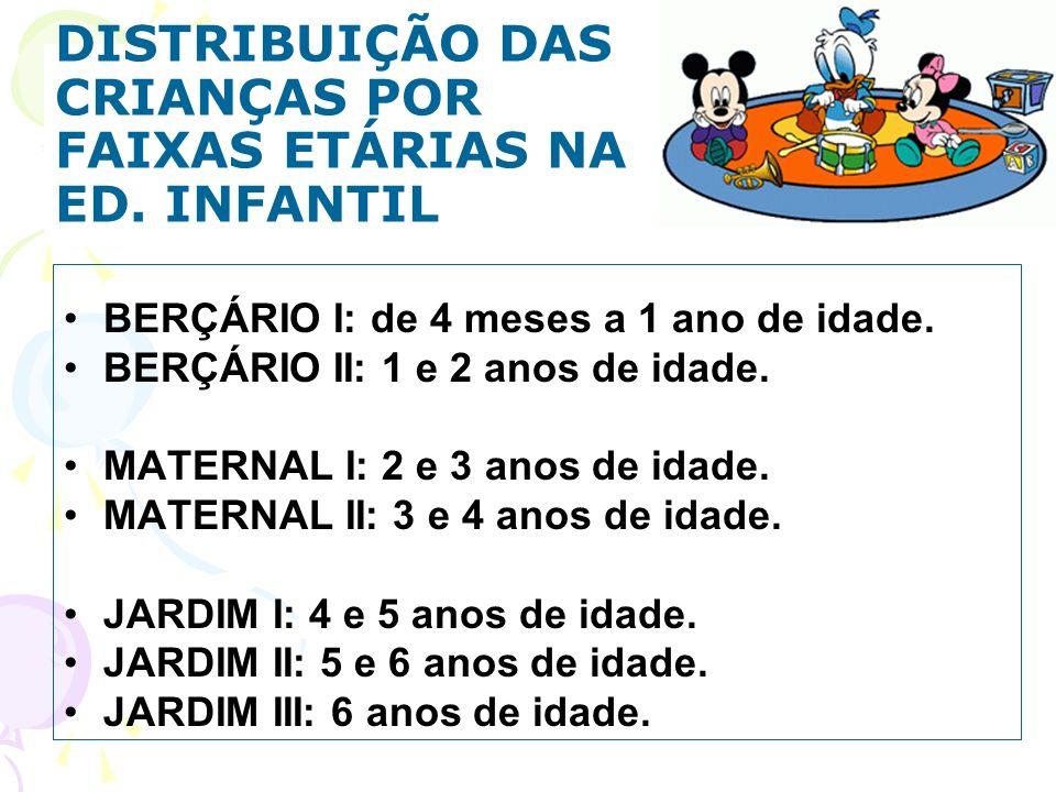 DISTRIBUIÇÃO DAS CRIANÇAS POR FAIXAS ETÁRIAS NA ED. INFANTIL