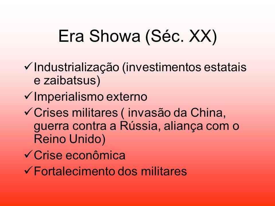 Era Showa (Séc. XX) Industrialização (investimentos estatais e zaibatsus) Imperialismo externo.