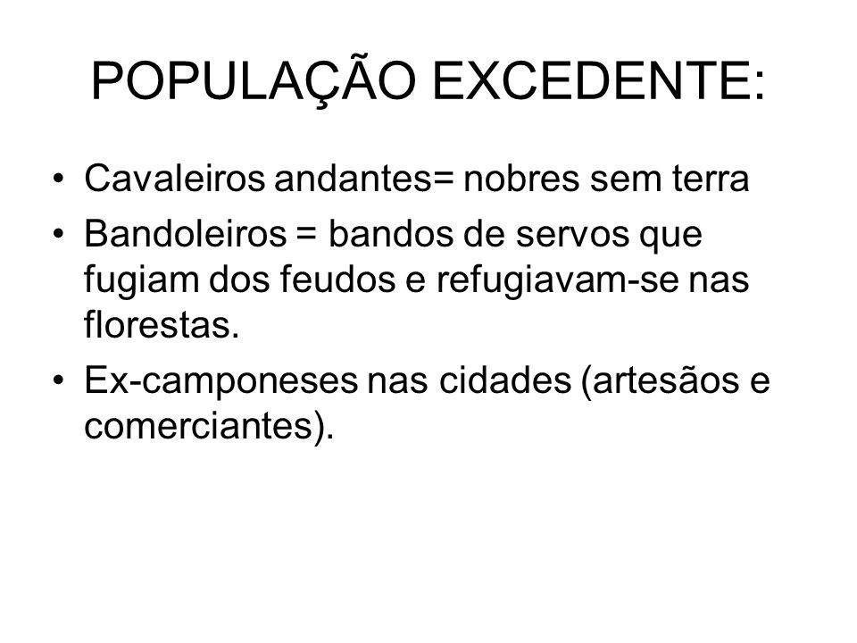 POPULAÇÃO EXCEDENTE: Cavaleiros andantes= nobres sem terra