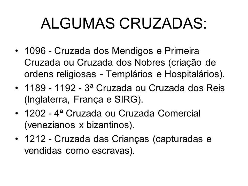 ALGUMAS CRUZADAS:1096 - Cruzada dos Mendigos e Primeira Cruzada ou Cruzada dos Nobres (criação de ordens religiosas - Templários e Hospitalários).