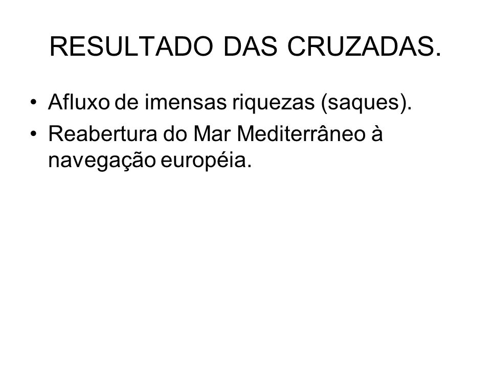 RESULTADO DAS CRUZADAS.