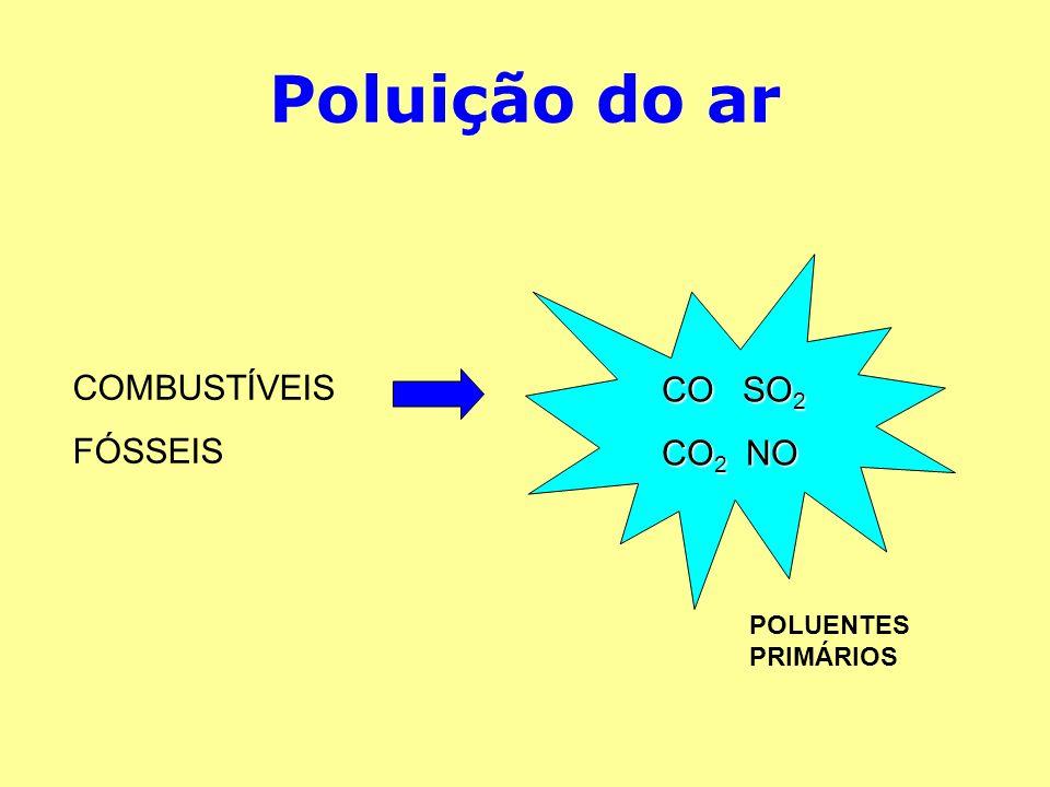 Poluição do ar COMBUSTÍVEIS FÓSSEIS CO SO2 CO2 NO POLUENTES PRIMÁRIOS
