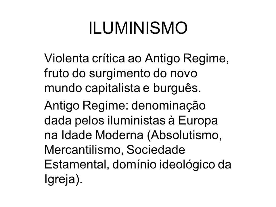 ILUMINISMO Violenta crítica ao Antigo Regime, fruto do surgimento do novo mundo capitalista e burguês.