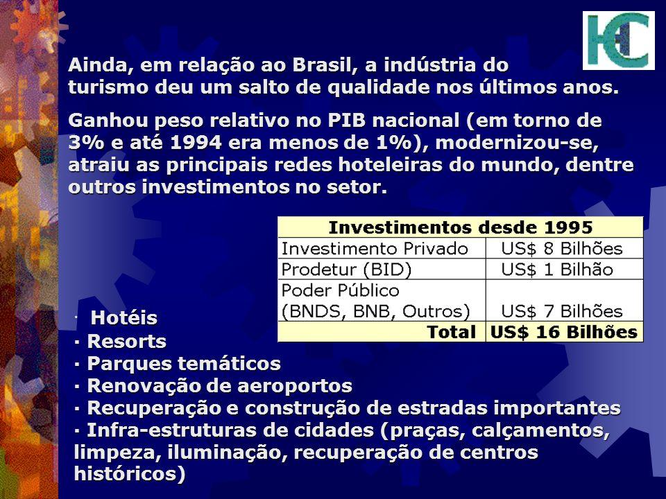 Ainda, em relação ao Brasil, a indústria do turismo deu um salto de qualidade nos últimos anos.