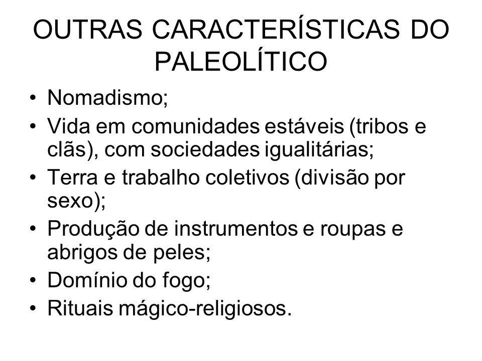 OUTRAS CARACTERÍSTICAS DO PALEOLÍTICO