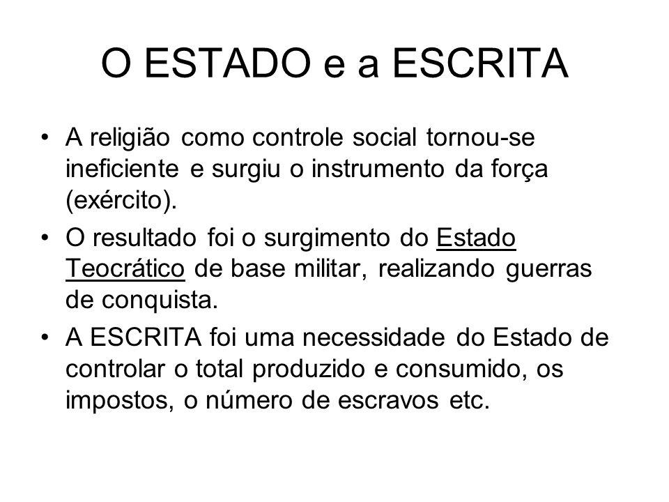 O ESTADO e a ESCRITA A religião como controle social tornou-se ineficiente e surgiu o instrumento da força (exército).