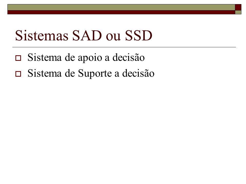 Sistemas SAD ou SSD Sistema de apoio a decisão