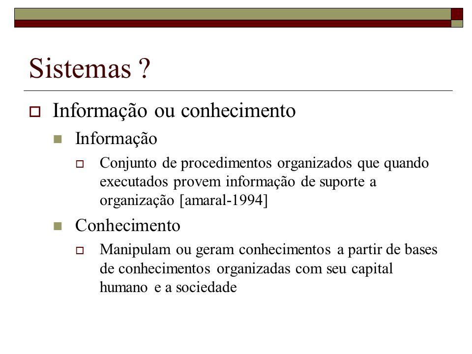 Sistemas Informação ou conhecimento Informação Conhecimento