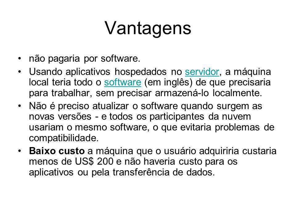 Vantagens não pagaria por software.