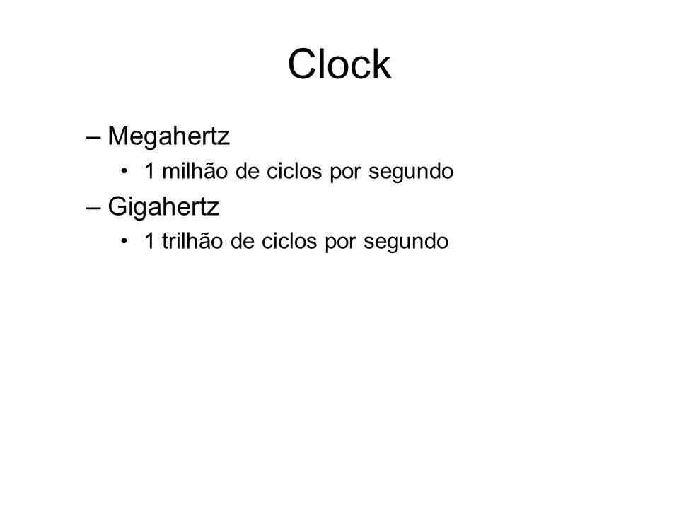 Clock Megahertz Gigahertz 1 milhão de ciclos por segundo