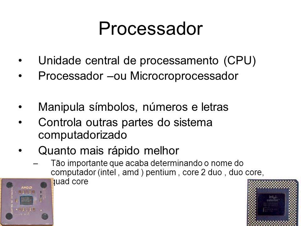 Processador Unidade central de processamento (CPU)
