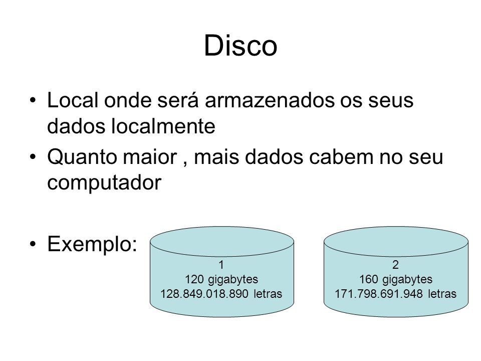 Disco Local onde será armazenados os seus dados localmente