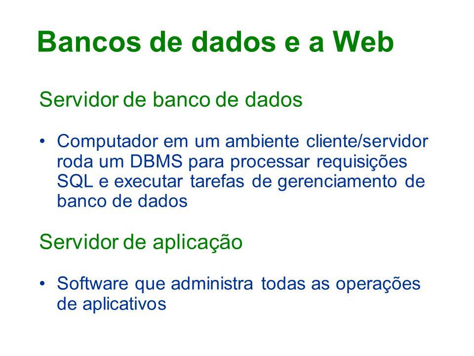 Bancos de dados e a Web Servidor de banco de dados
