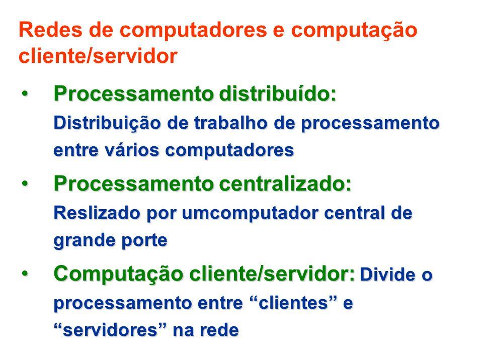 Redes de computadores e computação cliente/servidor