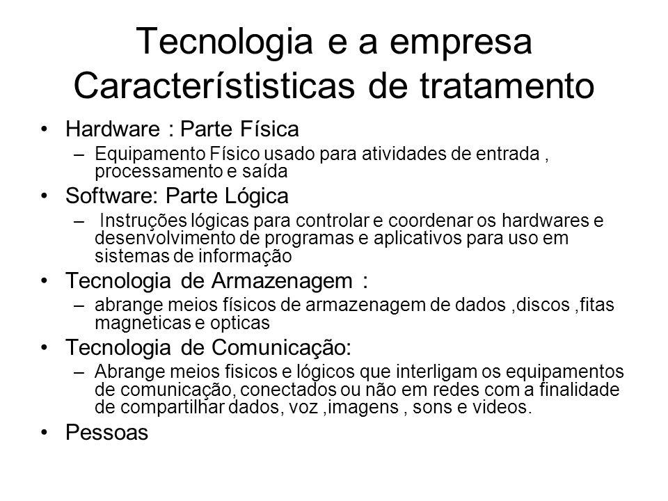 Tecnologia e a empresa Característisticas de tratamento