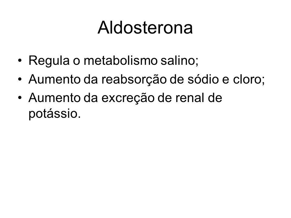 Aldosterona Regula o metabolismo salino;