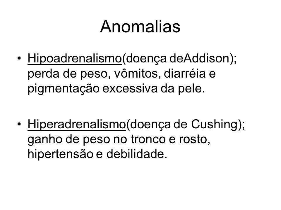 AnomaliasHipoadrenalismo(doença deAddison); perda de peso, vômitos, diarréia e pigmentação excessiva da pele.