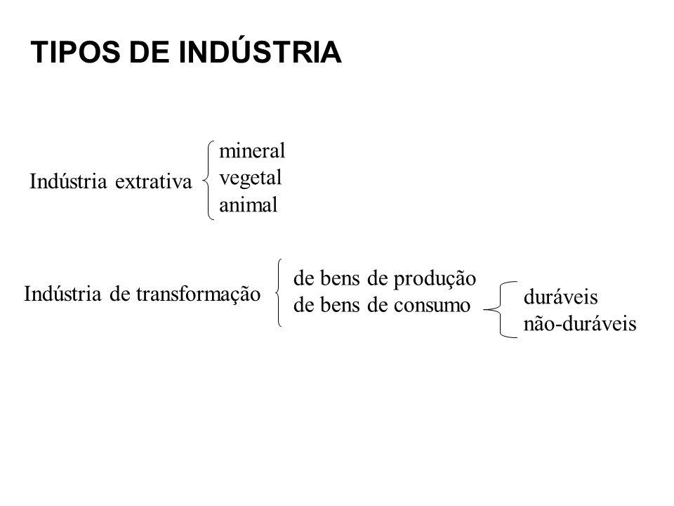 TIPOS DE INDÚSTRIA mineral vegetal animal Indústria extrativa