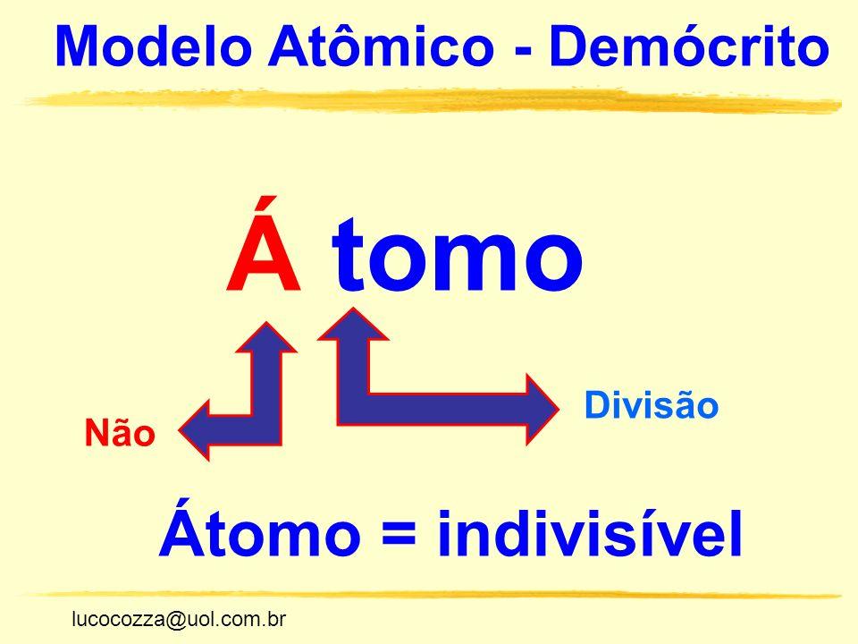 Á tomo Átomo = indivisível Modelo Atômico - Demócrito Divisão Não
