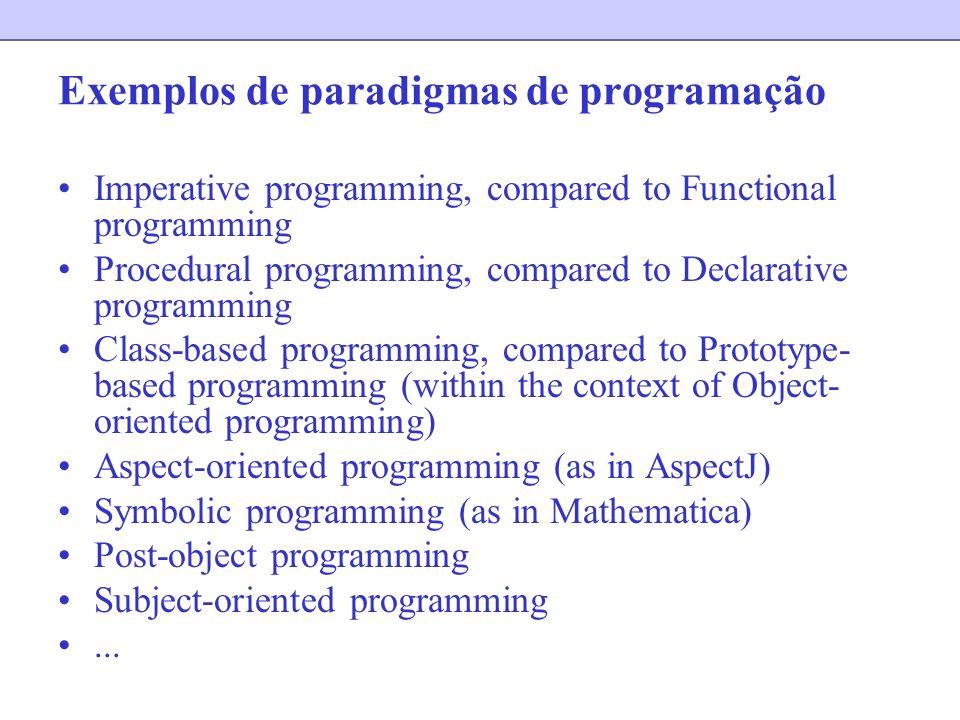 Exemplos de paradigmas de programação