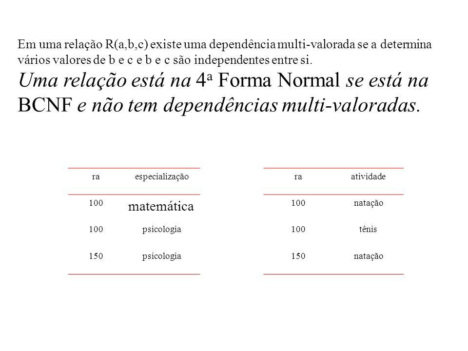 Em uma relação R(a,b,c) existe uma dependência multi-valorada se a determina vários valores de b e c e b e c são independentes entre si.