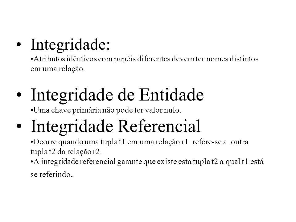 Integridade de Entidade Integridade Referencial