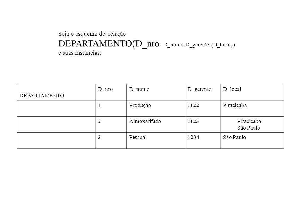 DEPARTAMENTO(D_nro, D_nome, D_gerente,{D_local})