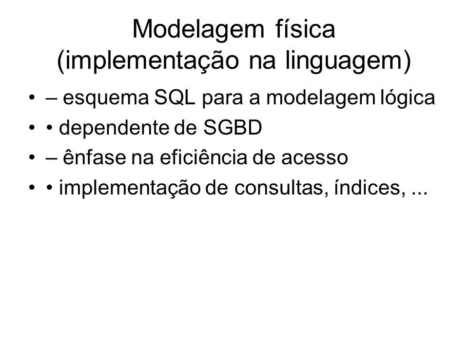 Modelagem física (implementação na linguagem)