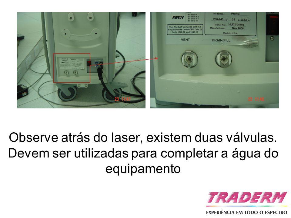 Observe atrás do laser, existem duas válvulas