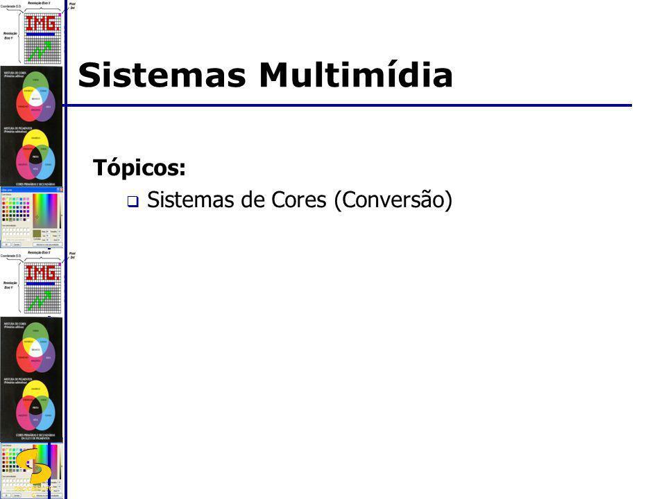 Sistemas Multimídia Tópicos: Sistemas de Cores (Conversão)