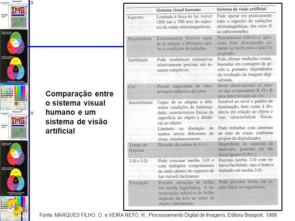 Comparação entre o sistema visual humano e um sistema de visão artificial
