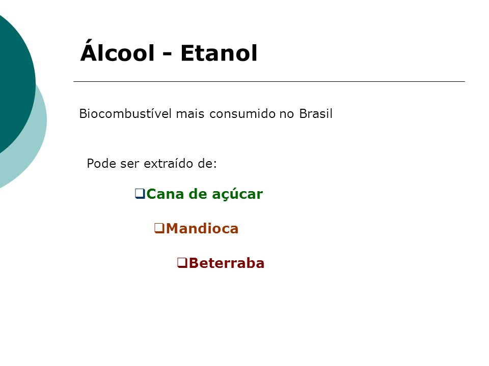 Álcool - Etanol Cana de açúcar Mandioca Beterraba