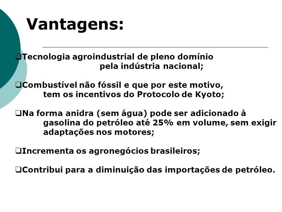 Vantagens: Tecnologia agroindustrial de pleno domínio