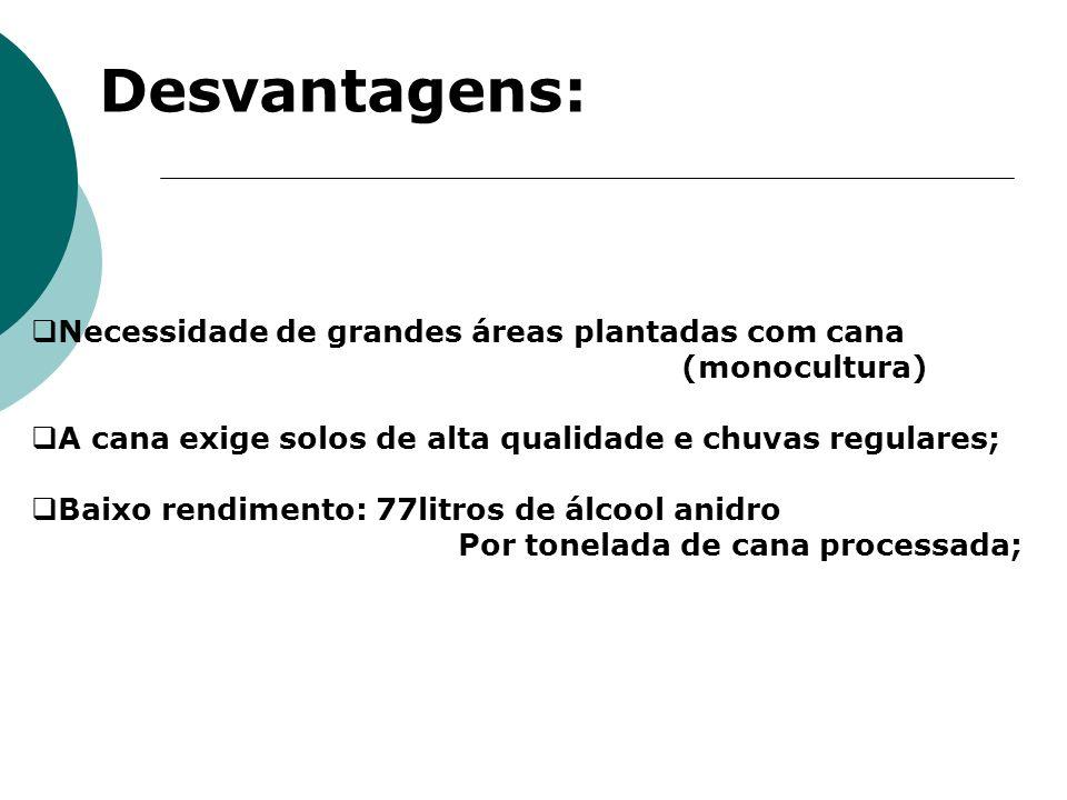 Desvantagens: Necessidade de grandes áreas plantadas com cana
