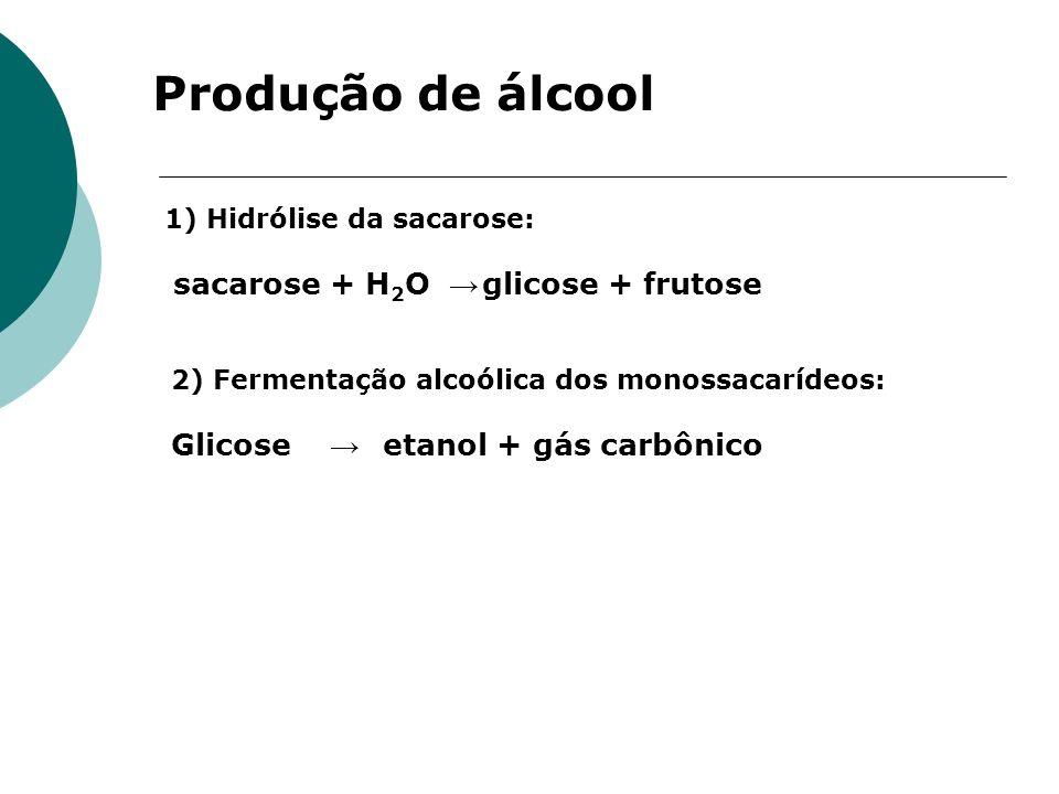 Produção de álcool Glicose → etanol + gás carbônico