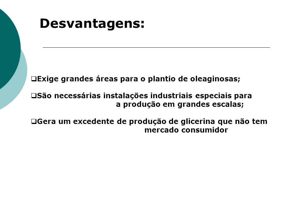 Desvantagens: Exige grandes áreas para o plantio de oleaginosas;